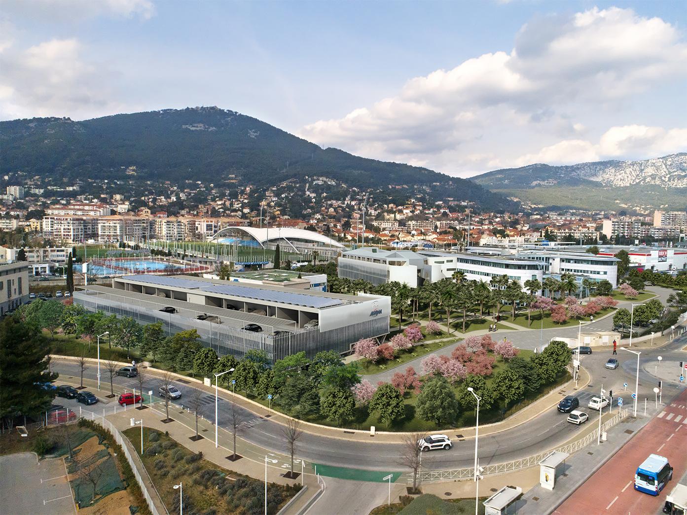 Vue aérienne siège social AGPM par AAPL architecte DPLG VAR